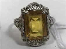 A LARGE ART DECO 14K WHITE GOLD CITRINE COCKTAIL RING