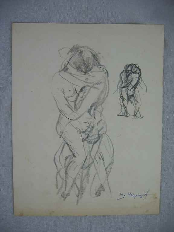 "624395: ""LOVERS"" PENCIL DRAWING BY WILLIAM MEYEROWITZ 8"