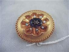 624431: 18K GOLD VICTORIAN LOCKET WITH AMETHYST AND DIA