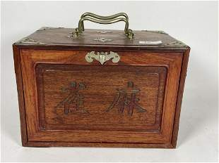 AN ANTIQUE CHINESE MAHJONG SET IN BRASS MOUNTED