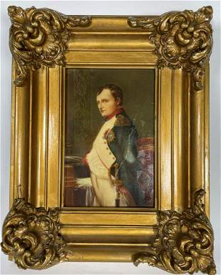 A HANDPAINTED PORCELAIN PLAQUE OF NAPOLEAN IN GOLD GILT