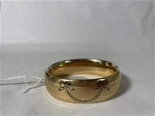 HEAVY THICK VICTORIAN HAND CHASED GOLD FILLED BANGLE