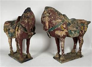 """A PAIR OF EARLY CHINESE CARVED WOOD PAINTED HORSES 23"""""""