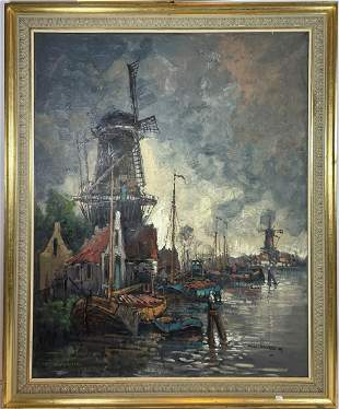 W.H. HORDER LARGE DUTCH OIL ON CANVAS PAINTING OF A