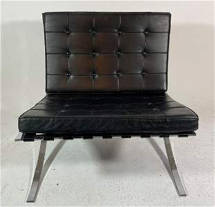 BLACK LEATHER AND CHROME BARCELONA CHAIR . CAT