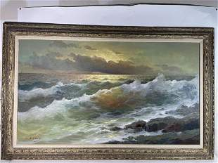 """ROUGH SEAS"" OIL PAINTING  BY M. RINOLDI . (BORN 1919)"