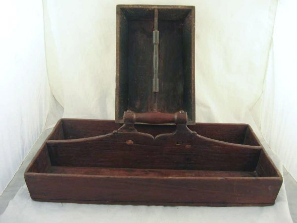 701109: 2 19TH CENTURY KNIFE BOXES- 1 IN OLD GREEN PAIN