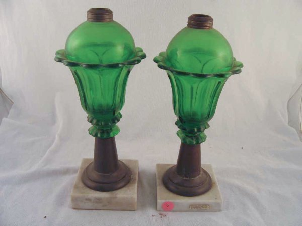701126: PAIR OF 19TH CENTURY GREEN WHALE OIL LAMPS