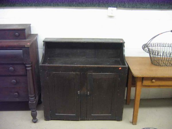 701110A: 19TH C. DRY SINK IN BLACK PAINT