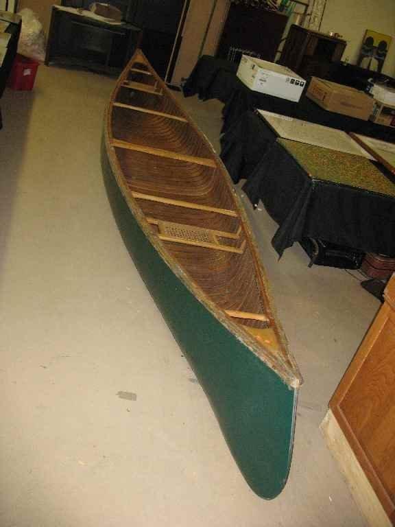 OLDE TOWN WOODEN CANOE APPROX 17' LONG