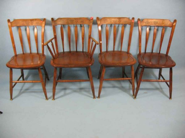 SET OF 4 HITCHCOCK  ARROWBACK CHAIRS, STENCILED