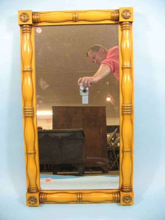 FEDERAL STYLE HITCHCOCK MIRROR IN MUSTARD PAINT