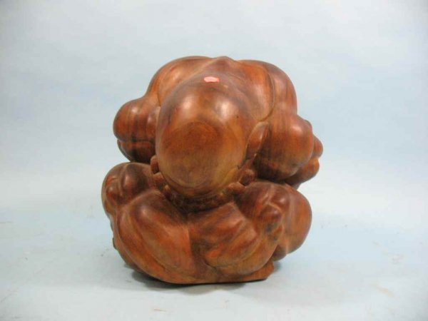 CROUCHING/ WEEPING BUDDHA CARVED WOOD SCULPTURE
