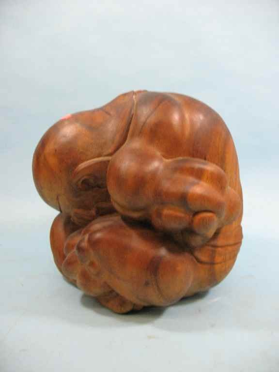 CROUCHING/ WEEPING BUDDHA CARVED WOOD SCULPTURE - 2