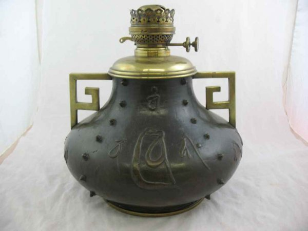 930121: CHINESE STYLE BRONZE URN WITH OIL LAMP INSERT (