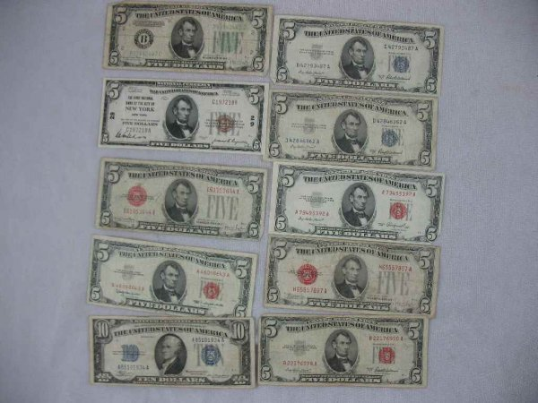 1104120: SILVER CERTIFICATES, BANK NOTE  10 TOTAL
