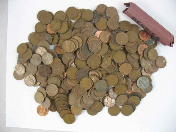 1104122: LARGE LOT OF PENNIES, MOSTLY WHEAT