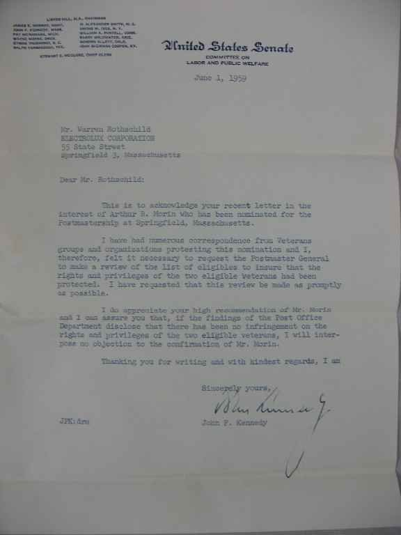 1104126: LETTER SIGNED BY JFK