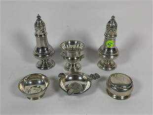 FIVE PIECES STERLING SILVER, INCLUDES TRAY MOUNTED WITH