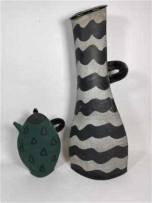"TWO CONTEMPORARY POTTERY VASES, 26"" TALL AND 12"" TALL"
