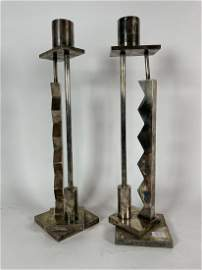 A PAIR OF ETTORE SOTTSASS FOR SWID POWELL SILVERPLATED