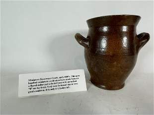 "8"" HANDLED REDWARE MINIATURE CROCK"