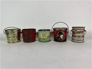 """5 ANTIQUE PEANUT BUTTER ADVERTISING TINS 3.25"""" IN"""