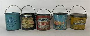 """5 ANTIQUE PEANUT BUTTER ADVERTISING TINS 3.5"""" IN"""