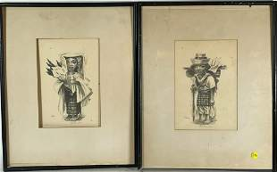 """TWO PHIL PARADISE PENCIL DRAWINGS, 7.5"""" X 11"""", FRAMES"""