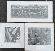 """THREE MONICA VACHULA PENCIL SIGNED PRINTS 24"""" X 12"""" AND"""