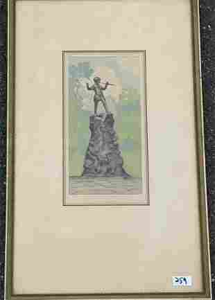 "ROBERT HAUSIN PENCIL SIGNED PRINT 5.5"" X 11"" SIGHT 13.5"