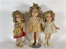 """THREE IDEAL SHIRLEY TEMPLE COMPOSITION DOLLS ONE IS 16"""""""