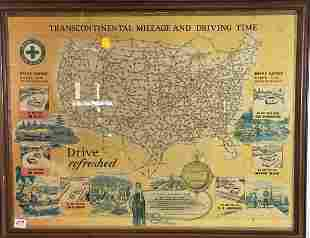 A 1920S COCA COLA FRAMED ROADMAP OF THE UNITED STATES
