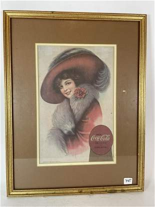 "FRAMED 1911 COCA COLA ADVERTISEMENT . 8.5"" X 13.5"""