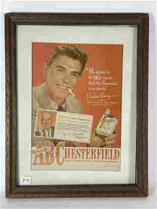 "1939 CHESTERFIELD AD WITH RONALD REAGAN. FRAMED 13.5"" X"