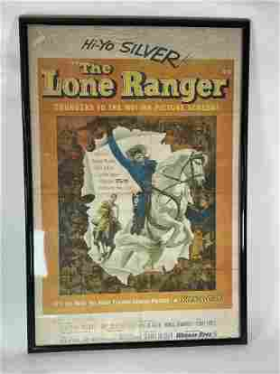 "ORIGINAL LONE RANGER MOVIE POSTER 41"" X 28"" FRAMED"