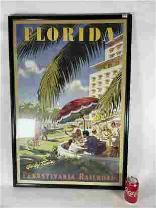 A FRAMED VINTAGE PENNSYLVANIA RAILROAD FLORIDA TRAVEL