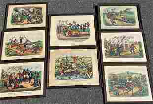 SET OF EIGHT CURRIER AND IVES DARKTOWN RACES ANTIQUE