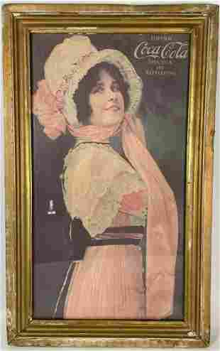 "FRAMED COCA COLA ADVERTISEMENT GIRL IN A BONNET 17.5"" X"