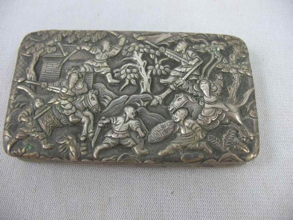 1209105: 19TH CENTURY FIGURAL STERLING MATCH CASE 3.5OZ