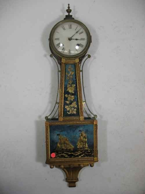 203002: ANTIQUE BANJO CLOCK WITH SHIP AND FLORAL DECORA
