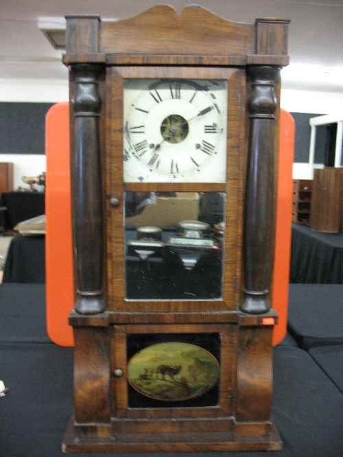 """203020C: CASE CLOCK WITH REVERSE PAINTING, 35""""T"""