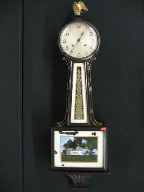 """203020A: BANJO CLOCK WITH REVERSE PAINTING, 39""""T"""