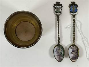 A STERLING SILVER BEAKER AND TWO IRISH ENAMELED SPOONS