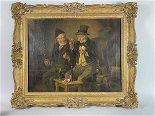 19TH CENTURY OIL ON CANVAS OF TWO MEN DRINKING
