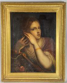 SIGNED OLD MASTER OIL PAINTING OF A WOMAN .