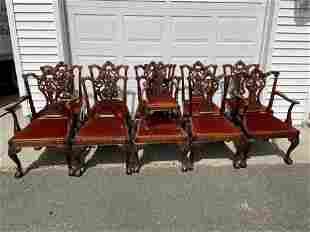 """10 CUSTOM MADE MAHOGANY CHIPPENDALE CHAIRS 38"""" TALL X"""