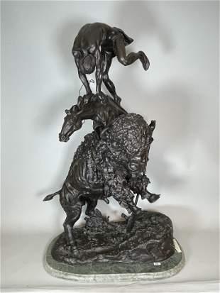"""FREDERIC REMINGTON BRONZE """"BUFFALO HORSE """""""