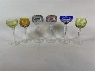 """A LOT OF SIX ANTIQUE CUT TO CLEAR GOBLETS 8"""" AND SMALLE"""