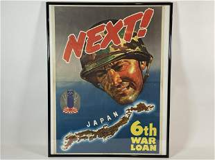"""NEXT!"""" WORLD WAR TWO FRAMED LOAN POSTER, 20"""" X 28"""